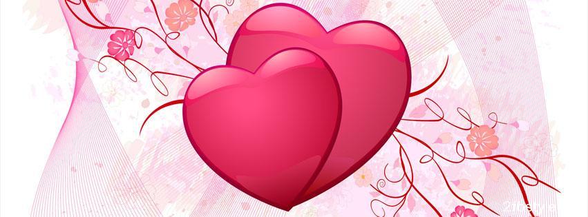 Portada para facebook de dos corazones rojos