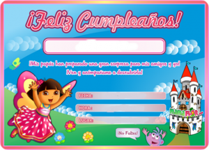 Tarjeta de cumpleaños de Dora la Exploradora