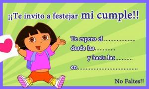 Invitación de cumpleaños de Dora la Exploradora