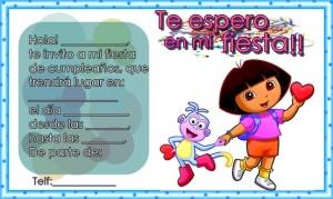 Tarjetas de invitación de cumpleaños de Dora la Exploradora