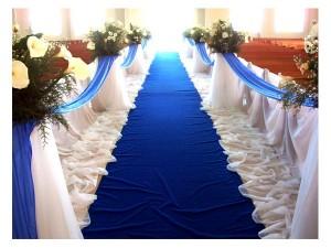 decoracion azul para boda en iglesia