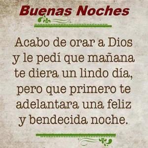Oracion a Dios de buenas noches